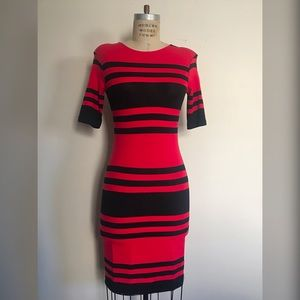French Connection Red/Black Stripe T-Shirt Dress